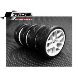 Ride 1/10 Slick Tires Precut 24mm Pre-glued with 10 Spoke Wheel White, 4pcs.