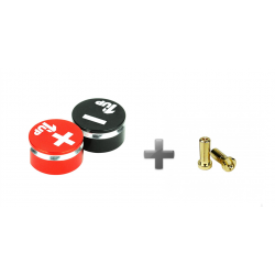 1up Racing LowPro Bullet Plugs & Grips 5mm - Black/Red