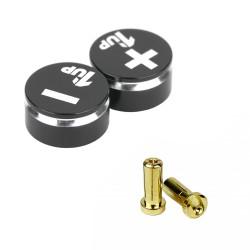 1up Racing LowPro Bullet Plug Grips – Black/Black + LowPro Bullet Plugs 5mm (2pcs)
