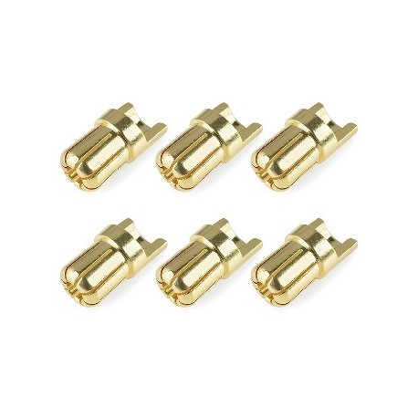 Team Corally - Bullit Connector 6.5mm - Male - Solid Type - Gold Plated - Ultra Low Resistance - Wire Straight - 6 pcs