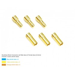 Muchmore Brushless Motor Connector Set 3,5mm (Male 3pcs & Female 3pcs)