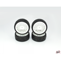 Ride 1/10 Slick Tires Precut 24mm Pre-glued with 16 Spoke Wheel White, 4pcs.